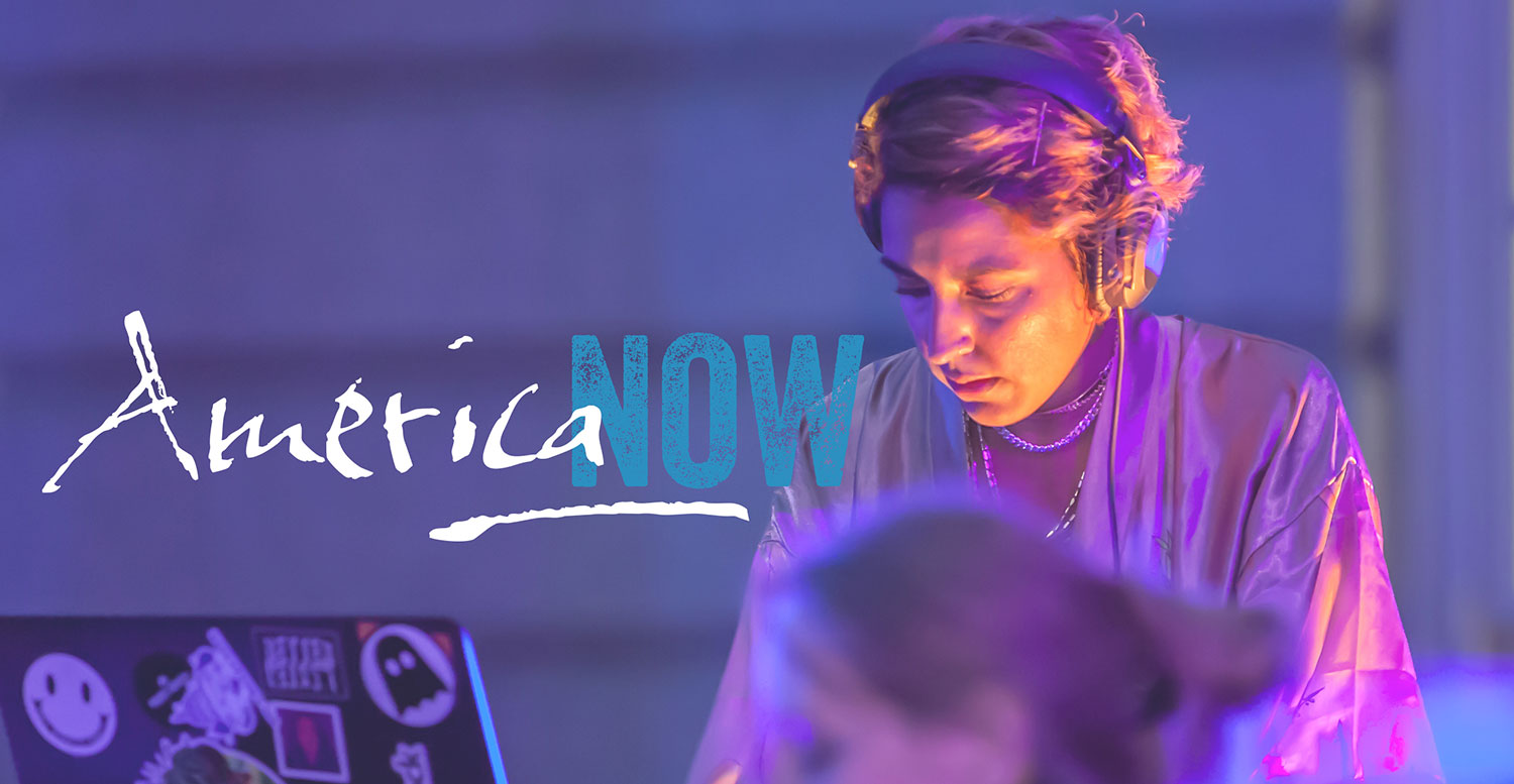 DJ with overlaid America Now logo